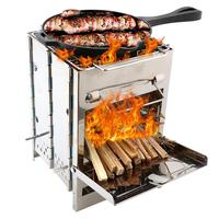 Stainless Steel Square Wood Stove Oven With Carry Bag Foldable Barbecue Grill For Outdoor Camping Mini BBQ Grill