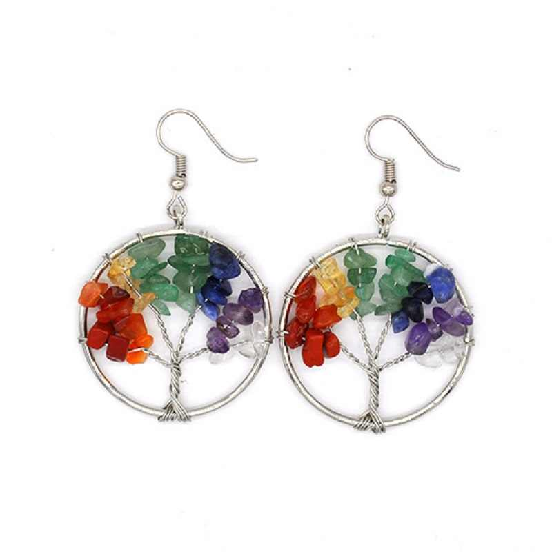 Newest Natural crystal gravel life tree wishing tree earrings round crystal tree earrings