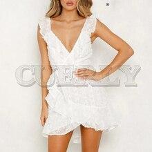 CUERLY Sexy ruffled lace up women dress Sleeveless sashes white summer short dresses Backless holiday female vestidos