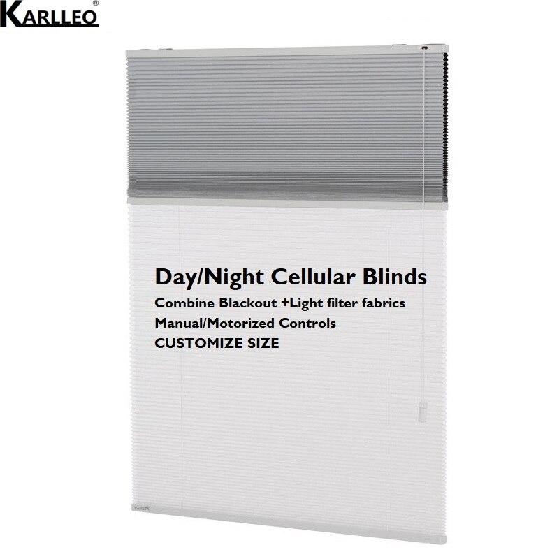 Day Night Dual Cellular Honeycomb Blinds Curtain Blackout and Light Filter Fabrics Customize Size