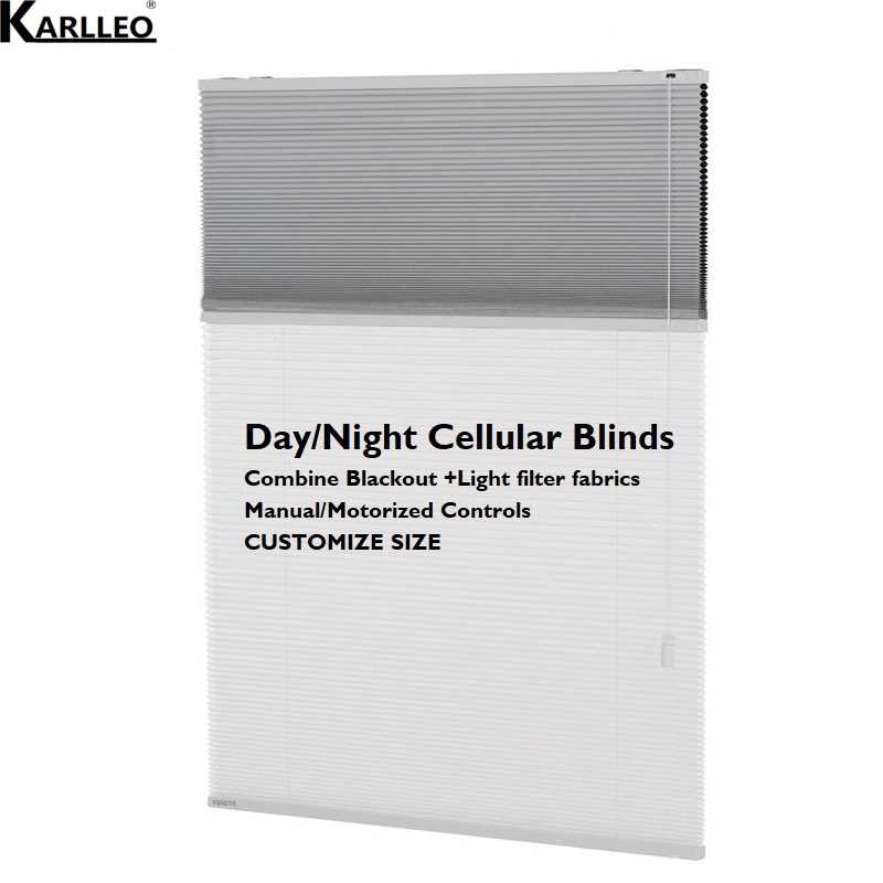 Day Night Dual Cellular Honeycomb Blinds Curtain Blackout and Light Filter Fabrics Customize Size