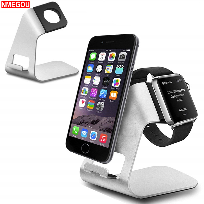 Universal 2 In 1 Aluminium Charging Stand <font><b>Dock</b></font> <font><b>Station</b></font> for Apple Watch 1 2 3 Iwatch <font><b>IPhone</b></font> X 8 7 Plus Charger Phone Holder Stand image