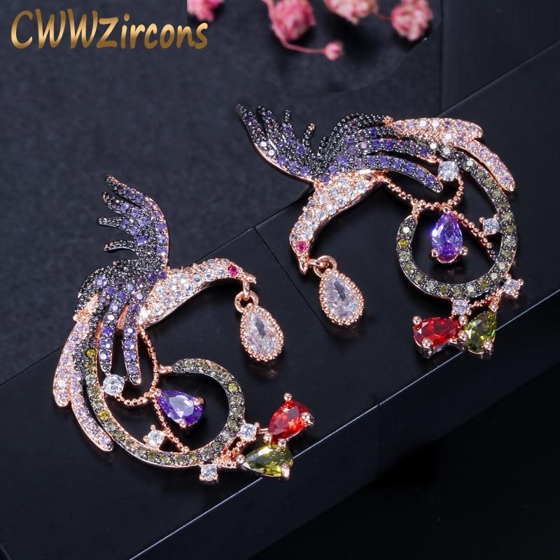 100% QualitäT Cwwzircons Exklusive Schwarz Und Rose Gold Farbe Zwei Töne Baumeln Ohrringe Mit Grün Lila Rot Cubic Zirkon Steine Cz348