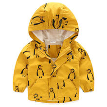 Penguins Kid Children Boy Hooded Rain Coat Windbreaker Jacket Outerwear Clothes 3-4 Years Yellow