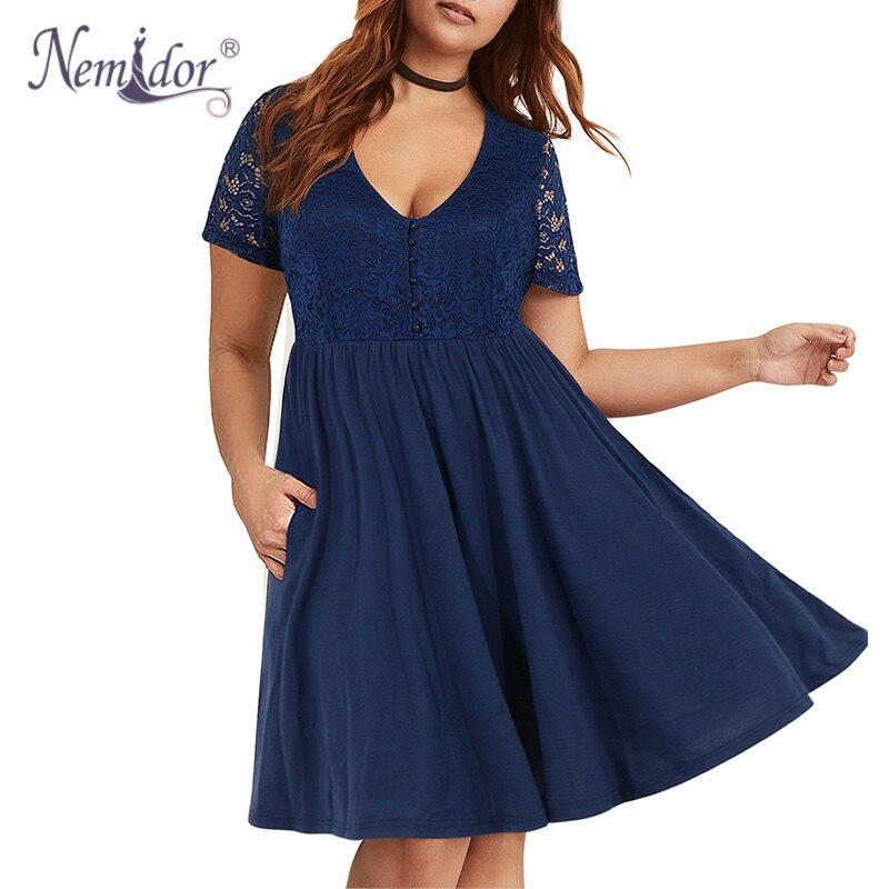 ac9d07775a2 BIG SALE  Cheap Nemidor Women Vintage Deep V-neck Short Sleeve Lace ...