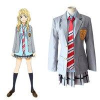 Your Lie in April Miyazono Kaori Arima Kousei Cosplay Costume Japanese Anime School Uniforms Halloween Suit(Coat + Skirt + Tie)