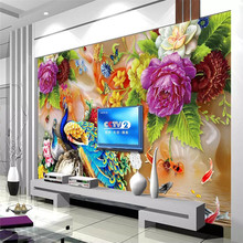 Peacock flower luxury background wall professional manufacture mural photo wallpaper