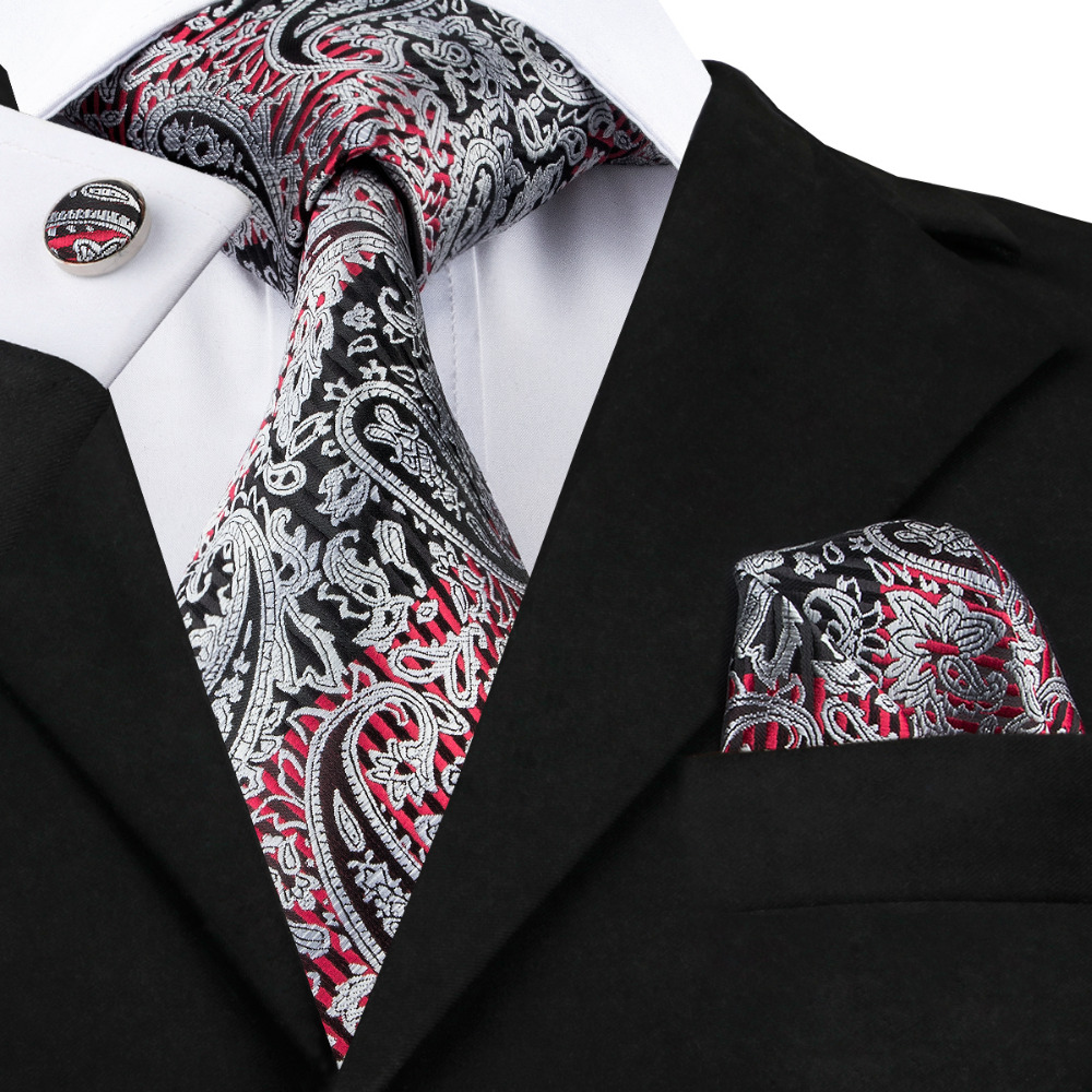 C-359 Classic Neck Tie Set Black Silver s