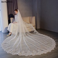 Velos De Novia 2018 White/Ivory Wedding Veil 5m Long One Layer Comb Lace Mantilla Cathedral Bridal Veil Wedding Accessories