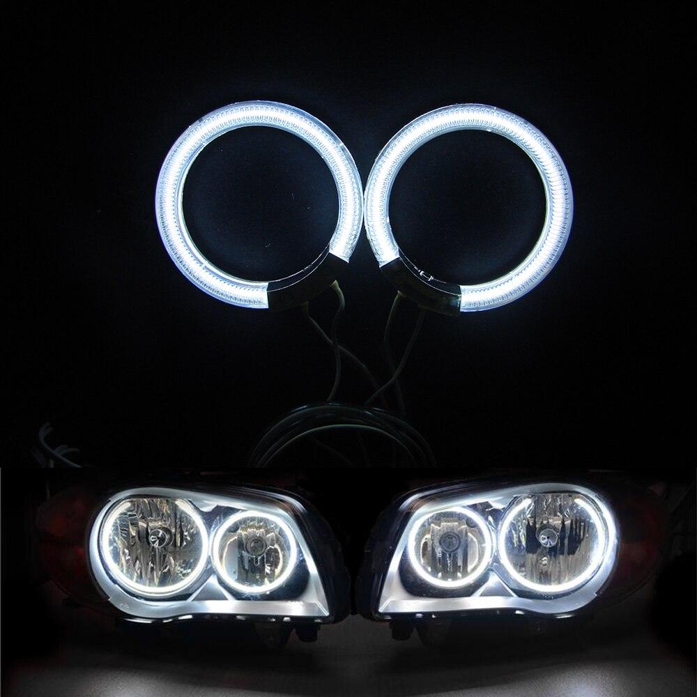 2 кольца+1 CCFL инвертор Белый 60 мм 65 мм 110 мм 120 мм 140 мм 75 мм 89 мм CCFL Ангел глаза фар гало кольцо сигнальные лампы с крышкой