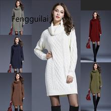 2019 плюс размер XXXXL свитер с длинным рукавом платье женщины осень-зима толстое платье тонкий женс