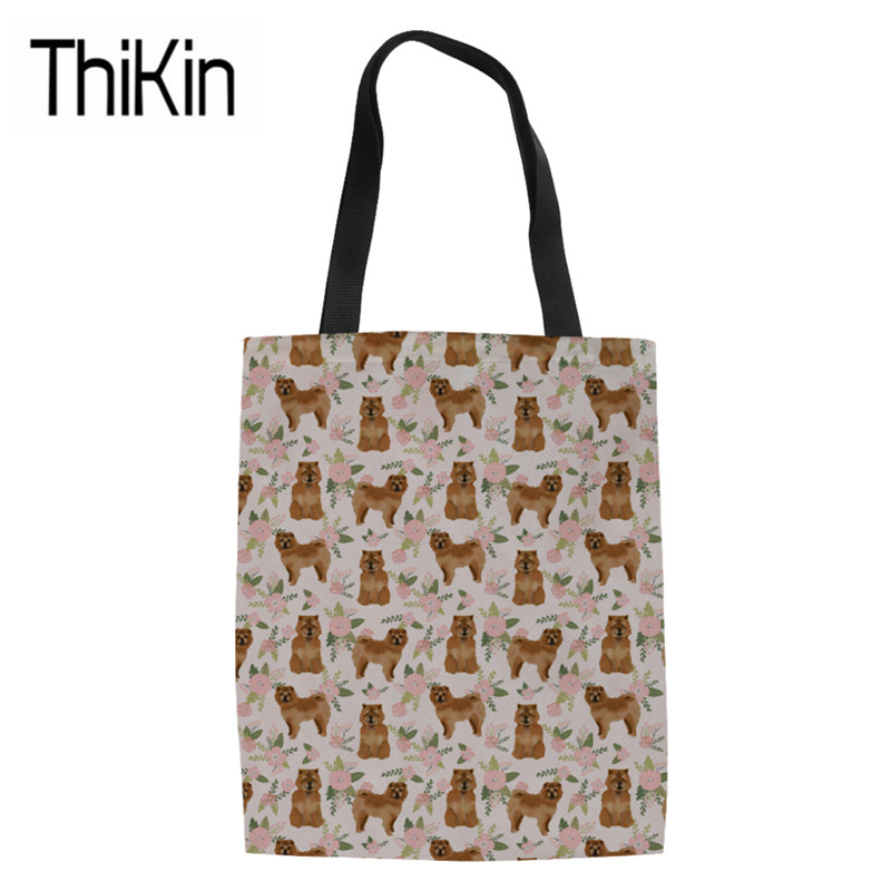 THIKIN Canvas Tote Bags for Women Foldable Shopping Bags Ladies Chow Dog Printing Shoulder Shopper Bag Girls Heavy Duty Book Bag tote bag