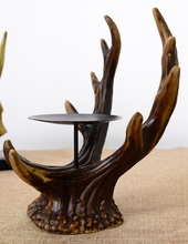 Antique Antlers Sculpture Candle Stand Decorative Polyresin Elk Horn Candle Holder Household Festival Ornament Craft Accessories