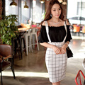 Original 2016 Brand Skirts White Plaid Plus Size Slim Elegant Casual High Waist Midi Braces Skirt Women Summer Style Wholesa