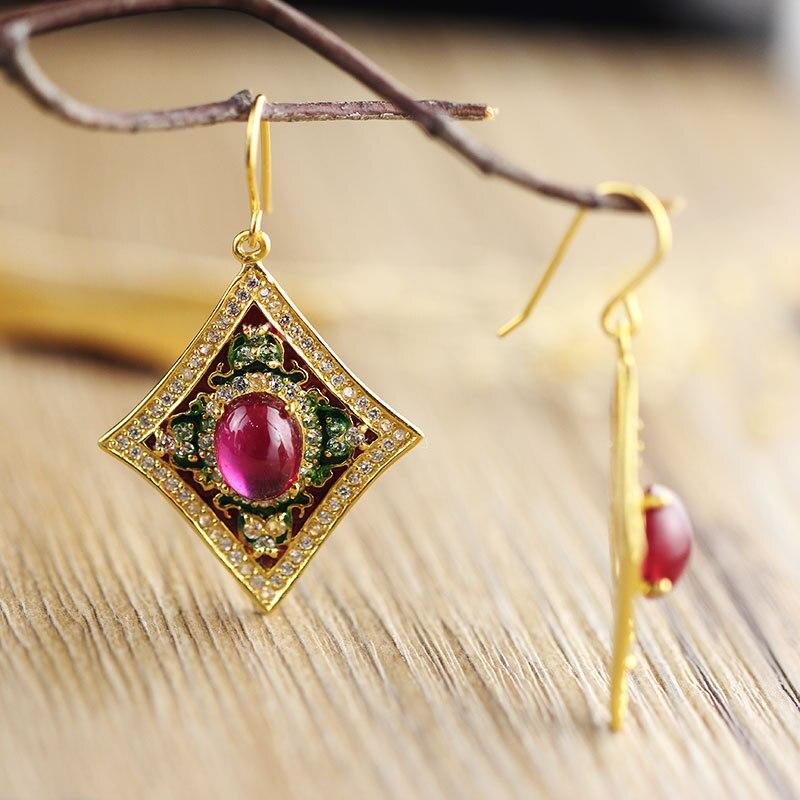 Boucles d'oreilles ethniques en argent Sterling 925 boucles d'oreilles en pierres précieuses naturelles Vintage pour femmes bijoux en dinde Aros Mujer Oreja