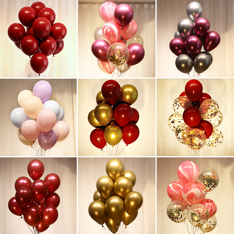 BTRUDI 100pcs  Metal latex balloon 12inch red gold wedding decoration birthday party chain background wall