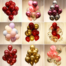 BTRUDI 100pcs Metal latex balloon 12inch red gold wedding decoration birthday party balloon chain background wall decoration