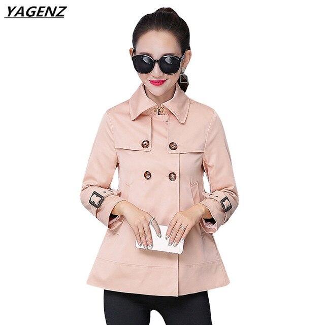 Тренч женский слово плащ ветровка Новинка 2017 года корейский свободные короткие двубортный большой Размеры Для женщин одноцветное Пальто для будущих мам yagenz k344