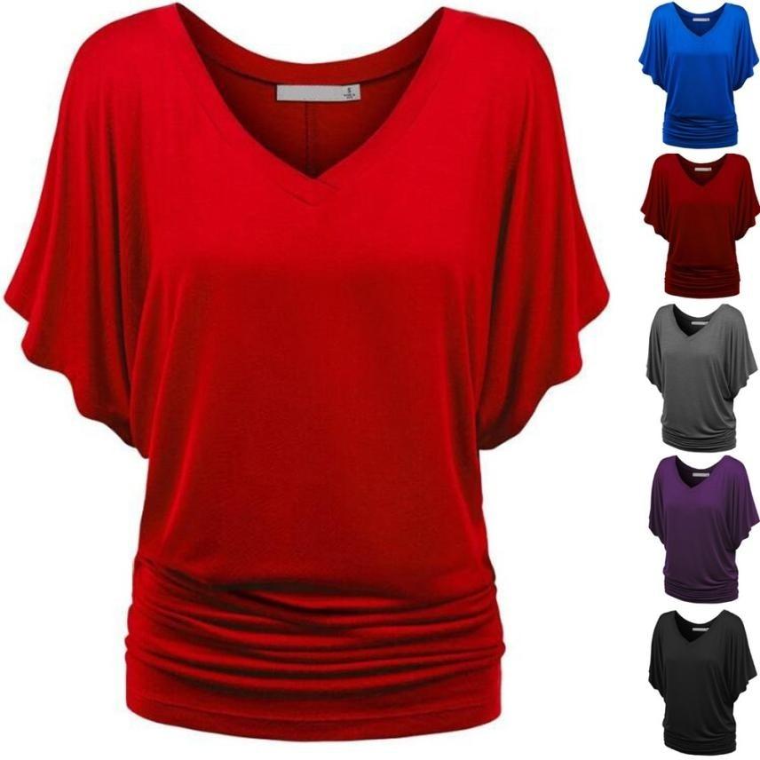 Plus Size Bat sleeve clothes Solid Causel Blouse Shirt Top Deep V Neck Blouse Big Size Blouse clothes for Pregnant women