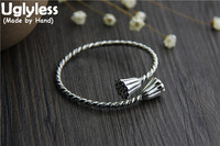 Uglyless Real S925 Sterling Silver Women China Style Handmade Engraved Lotus Bangles Weave Texture Twsited Opening Bangle Ethnic
