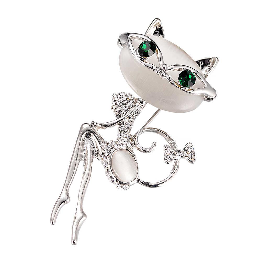 Brillante Broches Para Mujeres Ojo De Gato De Cristal Verde Animal Broches Broche Pin Fo