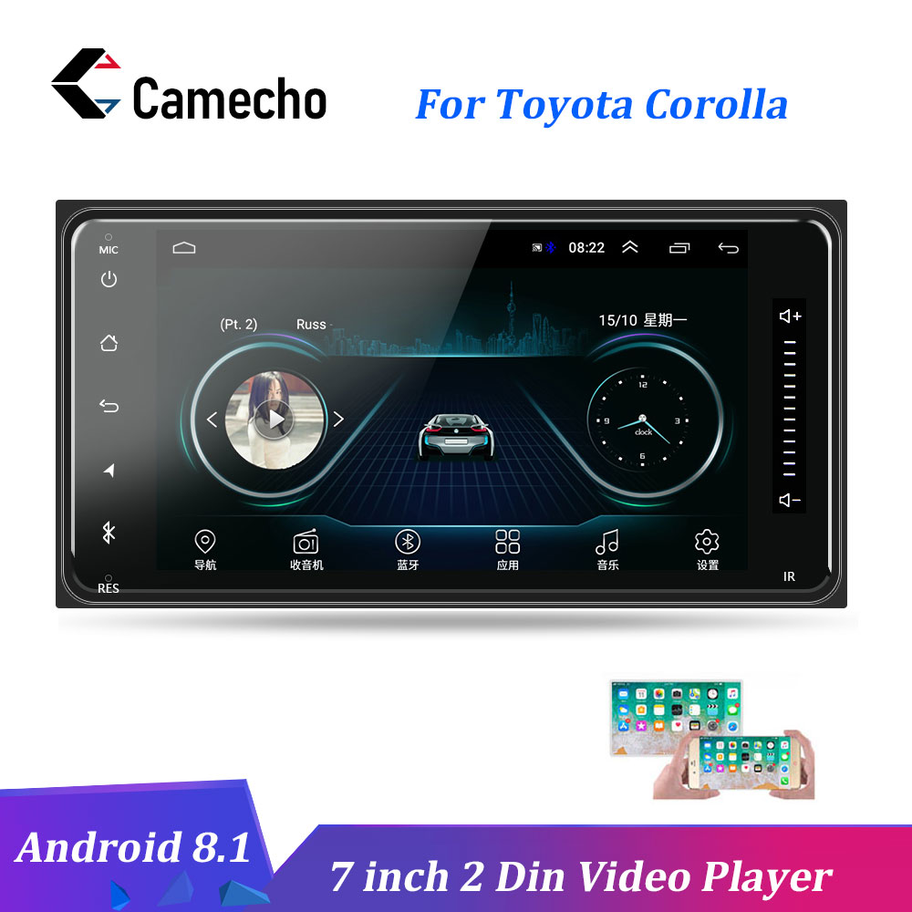 Camecho Car Multimedia Player Android 8.1 2 Din 7'' Autoradio GPS Autoradio Bluetooth Audio Stereo FM AUX USB For Toyota Corolla-in Car Multimedia Player from Automobiles & Motorcycles    1