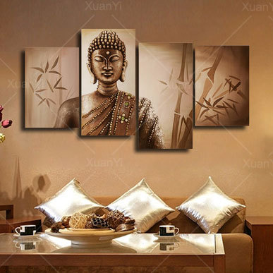 buy 4 panel abstract printed buddhism buddha painting canvas art home decor. Black Bedroom Furniture Sets. Home Design Ideas