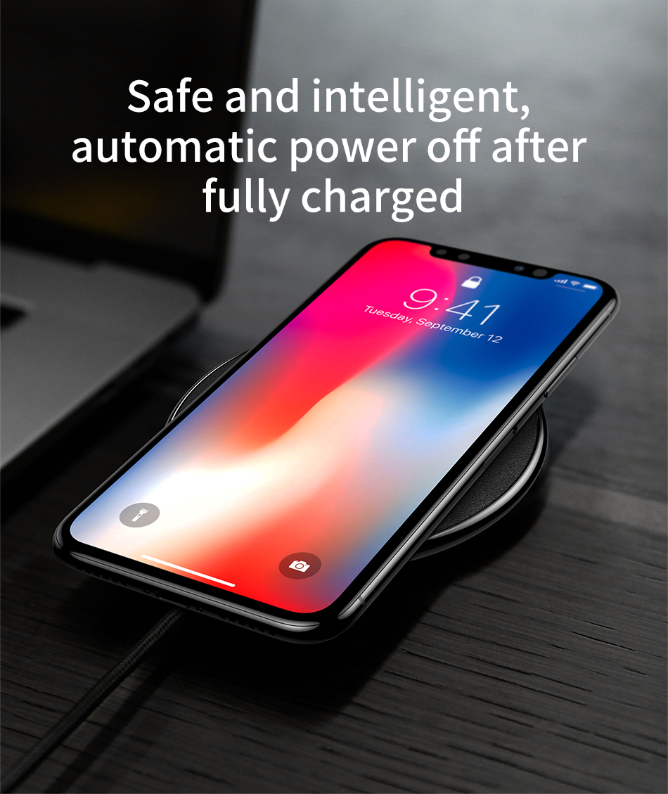 Baseus Qi Wireless Charger For iPhone X Xs Xs Max Leather Fast Wireless Charging For Samsung Note9 Desktop Wireless Charger Pad 7