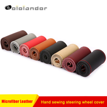 Car hand sewing steering wheel covers 38cm universal microfiber leather breathable wear steering wheel cover for Kia Honda etc.