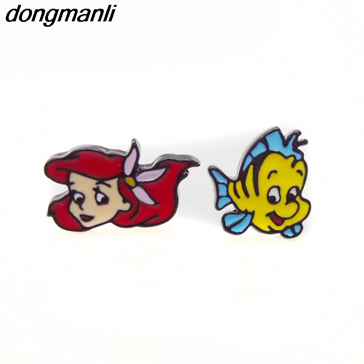 P1377 Dongmanli 1 Pair New Fashion Enamel Girls Kids Gift Jewelry Cute Little Mermaid Ear Stud Earrings For Women in Stud Earrings from Jewelry Accessories