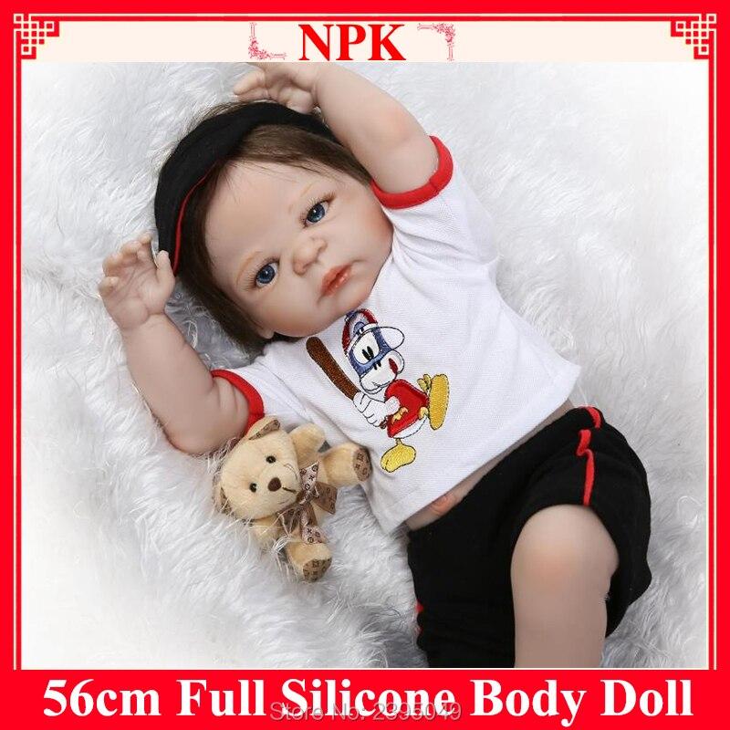"New 22 "" Full Body Silicone Reborn Dolls Children Doll Reborn Babies Brown Hair Magnetic Mouth Bath Dolls Children Gift Bonecas"