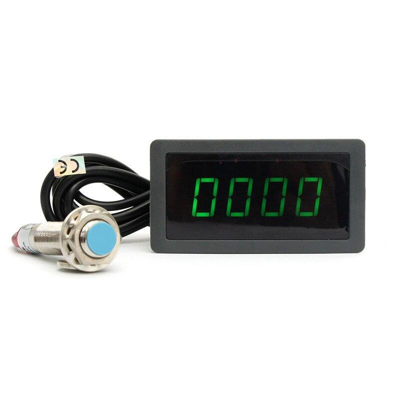 Tachometer 4 Digital Green LED Tach RPM Speed Meter With Hall Proximity Switch Sensor NPN 12V