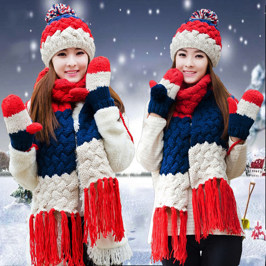 Hat Scarf Glove Set Women Winter Warm Pompoms Wool Knitted Beanies Patchwork Tassels Crochet Baggy Long Scarves X-mas Gift