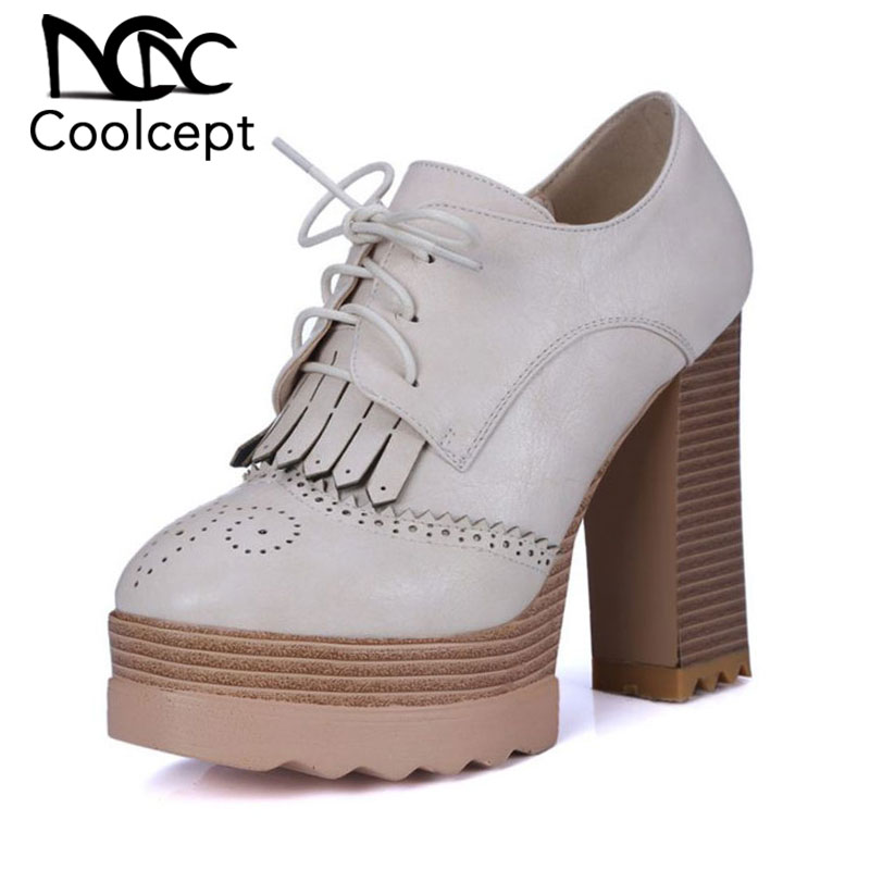 Coolcept Women High Heels Shoes Fashion Platform Pumps Tassels Office Lady Daily Shoes Women Thick Heels