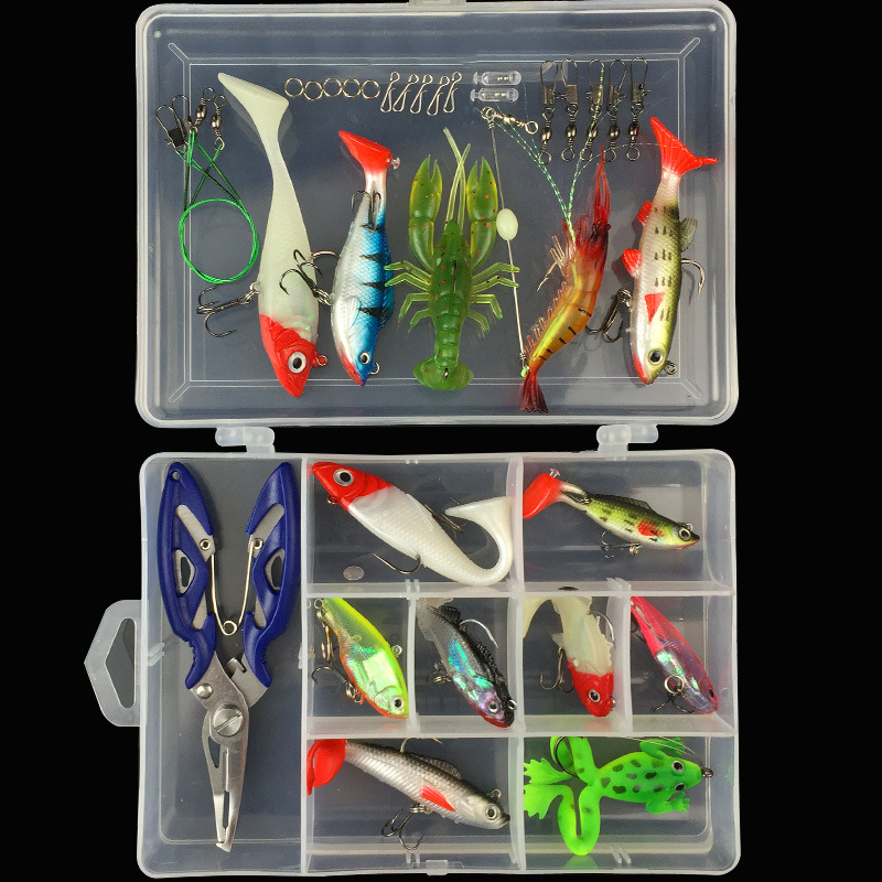 Fishing Lure Kit Single Tail Lead Fish Soft Bait VIB 33 Pieces Lures Accessories Pliers fishing soft lure screw t tails 75mm 2g long tail fish bait lot 3 pieces