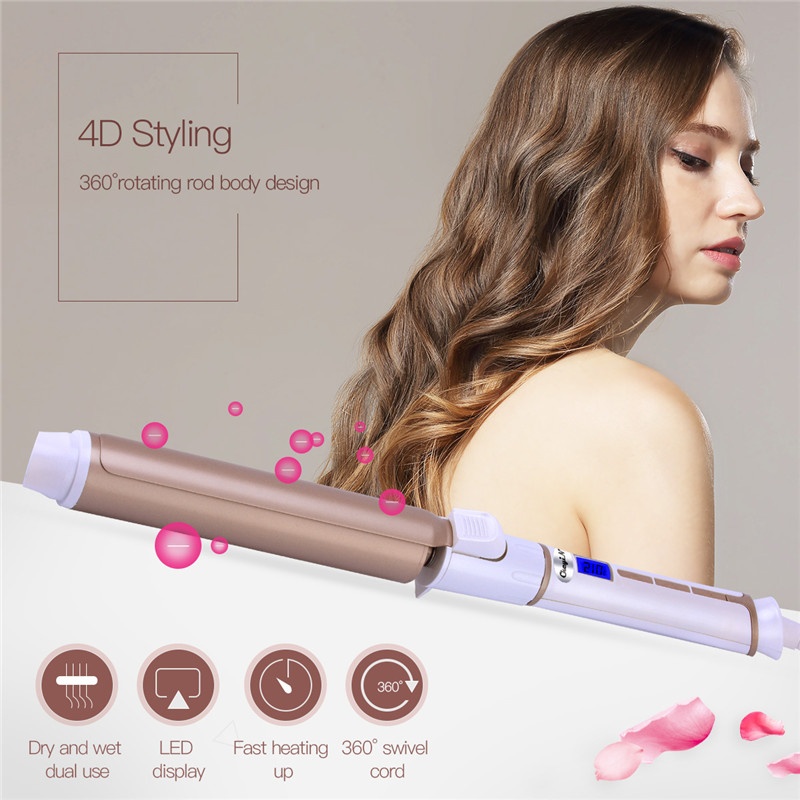 LED Digital Temperature Control Ceramic Styling Tools 32MM Hair Curling Iron Tongs Hair Waver Cone Electric Hair Curler Roller electric hair styling tool electric adjustable corrugated waver hair curler