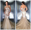 2016 Mermaid Evening Dresses Fashion Backless Sequined Formal Party Dresses Short Sleeve Prom Gowns Vestido De Festa 149