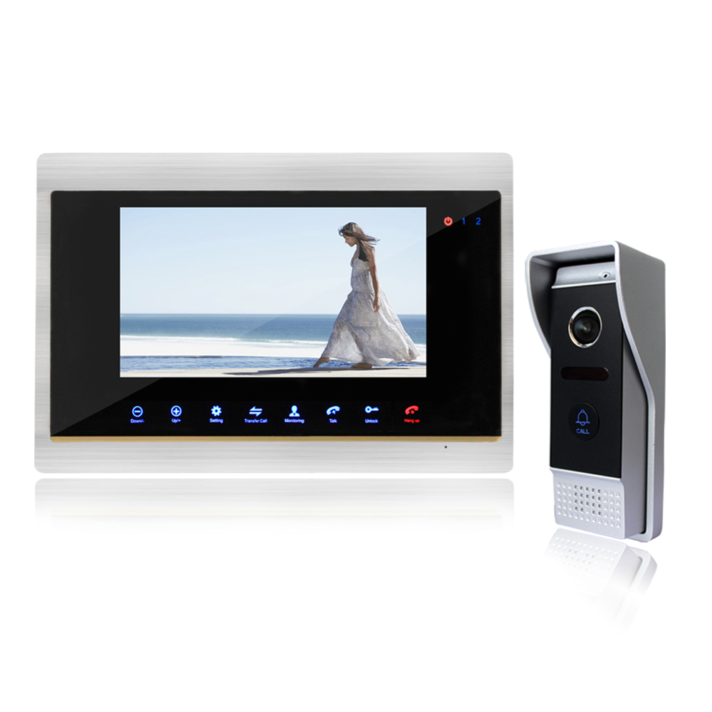 Homefong 7 Wired Night Visual Video Door Phone  Doorbell Intercom System Home Security TFT LCD Monitor Waterproof 1200TVL 1V1 homefong villa wired night visual color video door phone doorbell intercom system 4 inch tft lcd monitor 800tvl camera handfree