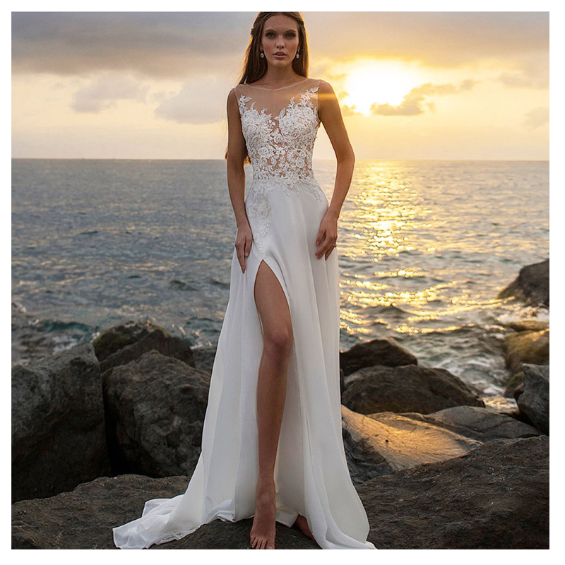 Boho Wedding Dress A-Line Appliques Chiffon Bride Dress Side Split Floor Length Wedding Gown Free Shipping 2019