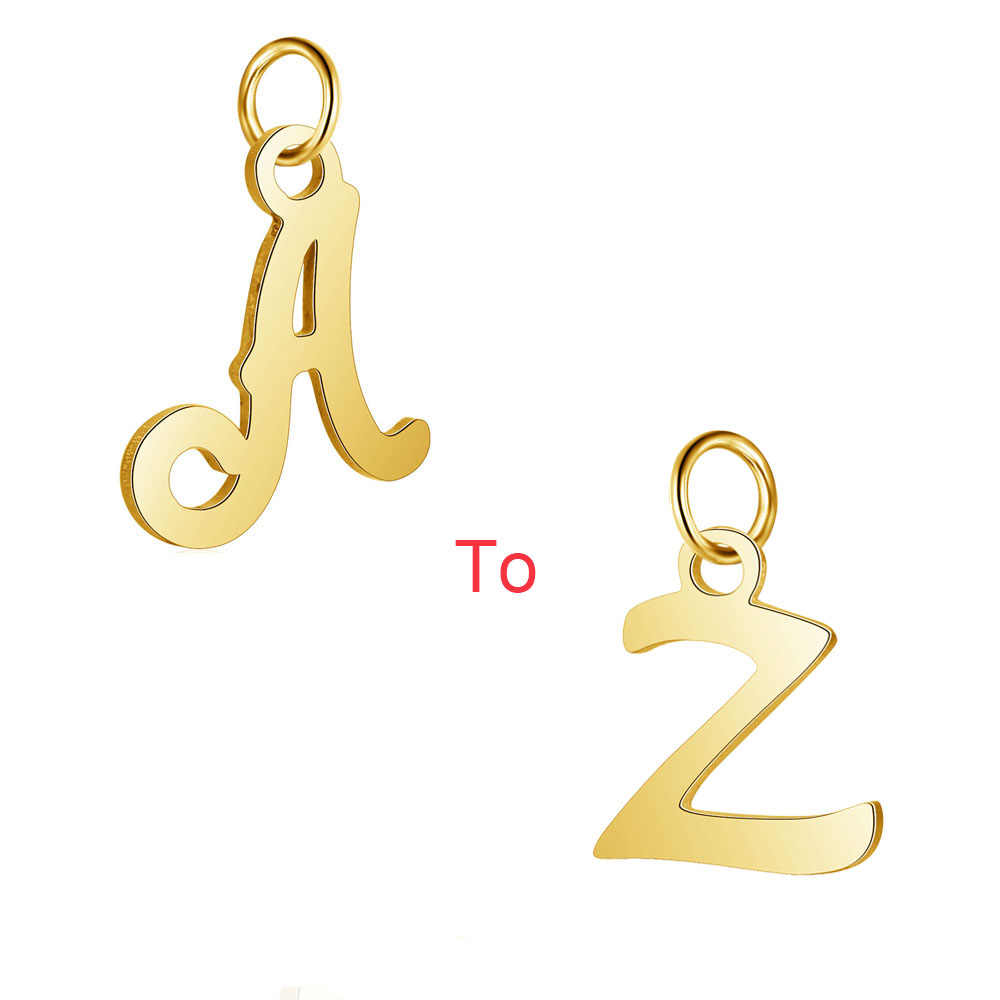 26pcs/lot Stainless Steel Gold Color High Polish Cut Out Alphabet Charms DIY Initials From A-Z Pendant Accessories Jewelry