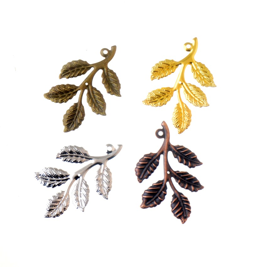 Free Shipping 20Pcs Leaf Filigree Wraps Connectors Metal Crafts Gift Decoration DIY 32x50mm