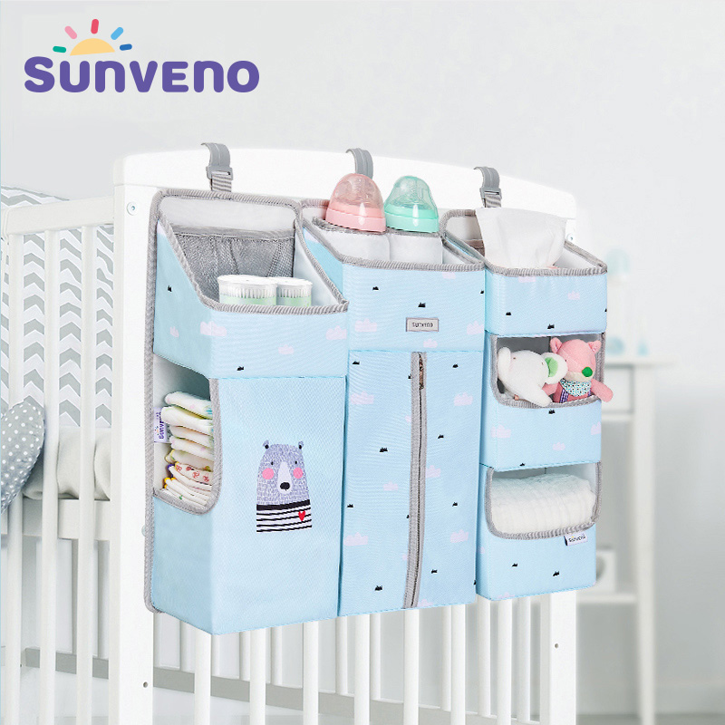 SUNVENO Portable Baby Crib Organizer Bed Hanging Bag for Baby Essentials Diaper Storage Cradle Bag Bedding