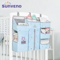 SUNVENO Portable Baby Crib Organizer Bed Hanging Bag for Baby Essentials Diaper Storage Cradle Bag Bedding Set