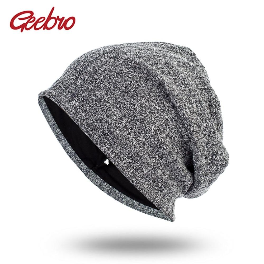 Geebro Spring Women's Bonnet   Beanies   Men's Cotton Solid Stripe Hats For Ladies Soft Comfortable   Skullies     Beanie   Cap DQ411B