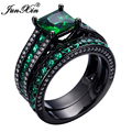 JUNXIN New Fashion Green Zircon Stone Ring Sets Vintage Wedding Rings For Men And Women Crystal Top Quality Jewelry Best Gifts