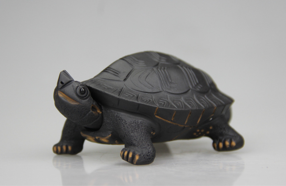 Authentic Purple Clay Tea Pet Handmade Ornaments Sculpture Tea Longevity Turtle Play Head Can Move