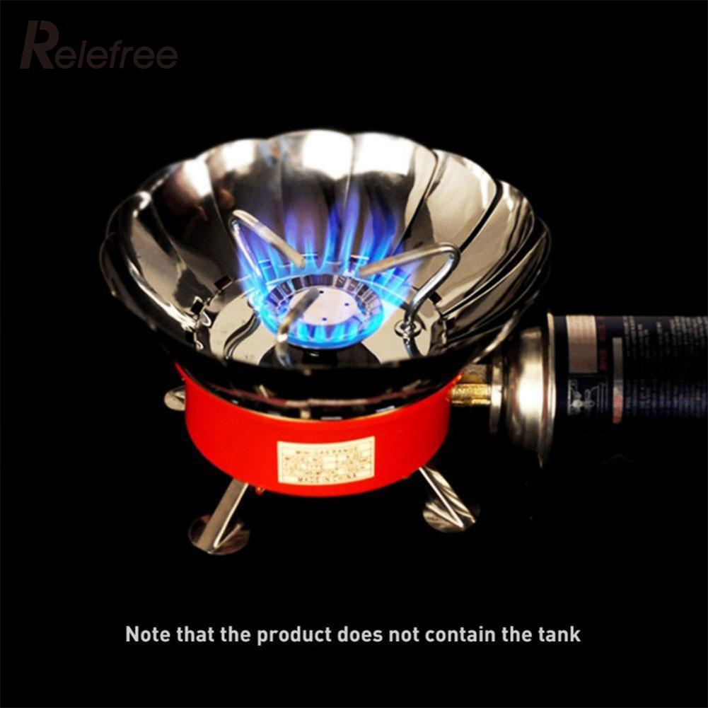 Windproof Outdoor Stove Cooker Cookware Gas Burners Camping Picnic Cookout BBQ Portable Folding Adapter Butane 4000BTU Steel