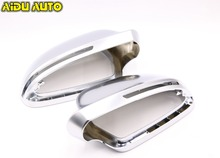 1 pair For  Audi  A3 S3 8X 08 A4 S4  B8 S5 A5 S6 A6 Q3 matt chrome  Silver mirror case rearview mirror cover shell lexucar matt chrome car rearview silver side mirror covers cap s line b8 5 b 8 5 for audi a3 a4 a5 2011 2016