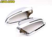 1 pair For Audi A3 S3 8X 08 A4 S4 B8 S5 A5 S6 A6 Q3 matt chrome Silver mirror case rearview mirror cover shell