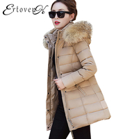 Elegant Removable Big Fur Collar Hat Down Cotton Coat Winter Slim New 2017 Parkas Women Large